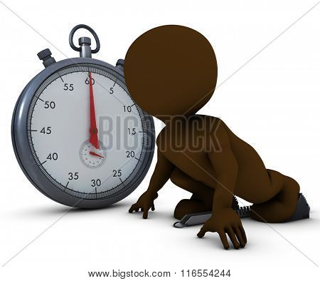 3D Render of Morph Man on starting blocks and stop watch