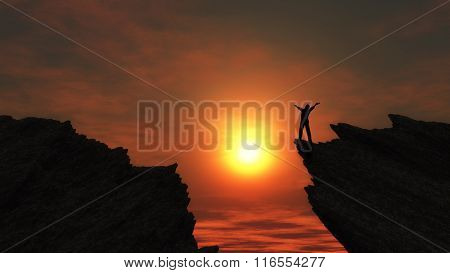3D render of a man stood on a mountain top with arms outstretched