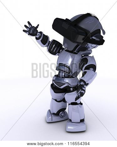 3D Render of a Robot with VR Headset