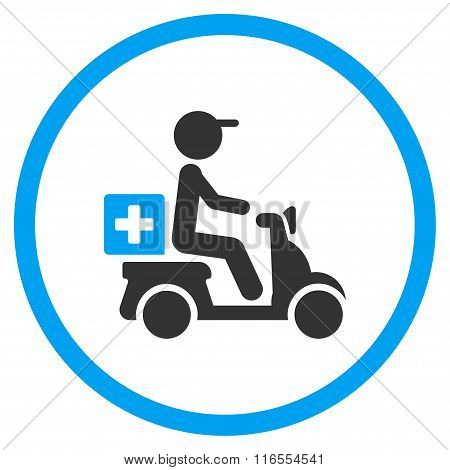 Drugs Motorbike Delivery Rounded Icon
