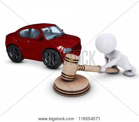 3D Render of Morph Man with car and gavel