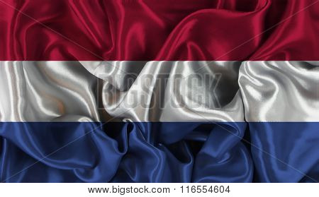 Netherlands flag background with folds and creases