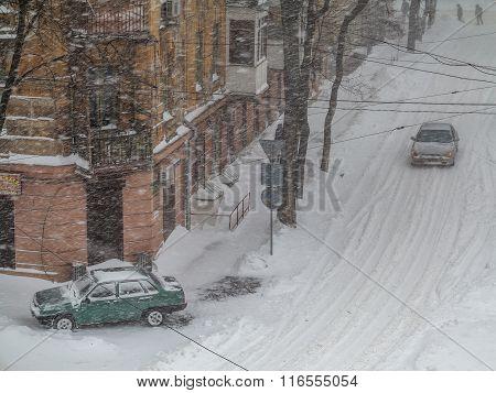 Odessa, Ukraine - January 18, 2016: A Powerful Cyclone, Storm, Heavy Snow Paralyzed The City. People