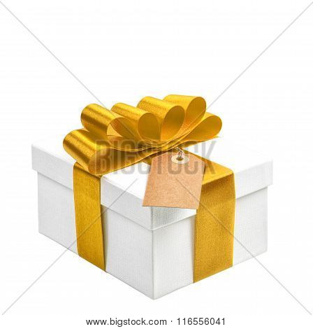 Gift Box With Yellow Gold Ribbon Bow And Tag Isolated On White