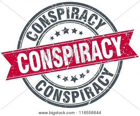 conspiracy red round grunge vintage ribbon stamp