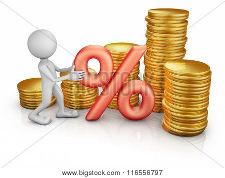 Man With A Percent  And Coins