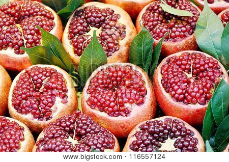 Opened fresh pomegranates