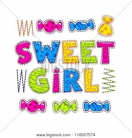 Funny bright vector illustration for girls
