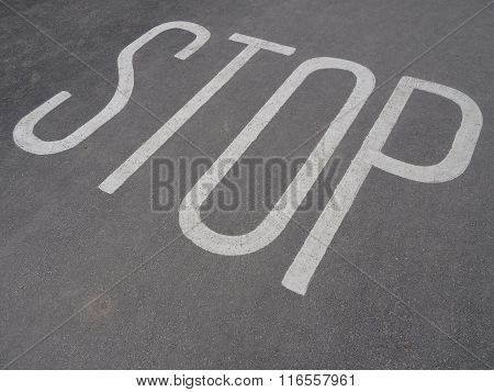 Stop Sign Upon Pathway
