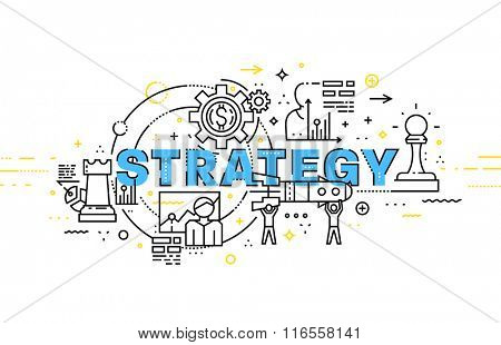 Flat Style, Thin Line Art Design. Set of application development, web site coding, information and mobile technologies vector icons and elements. Modern concept vectors collection. Strategy Concept