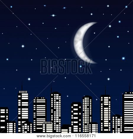 Night Sky With Moon, Stars And Silhouette Of The City