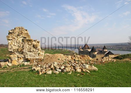 Ruins Of Defensive Shaft Near The Ancient Fortress. Attractions Eastern European Tourists Who Like T
