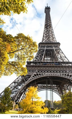 Famous Eiffel Tower In Autumn Paris, France