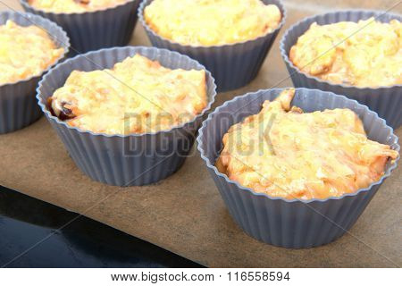 Carrot Muffins With Apple And Candied Fruit On A Baking