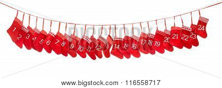 Advent Calendar 1-24. Red Christmas Stocking Decoration
