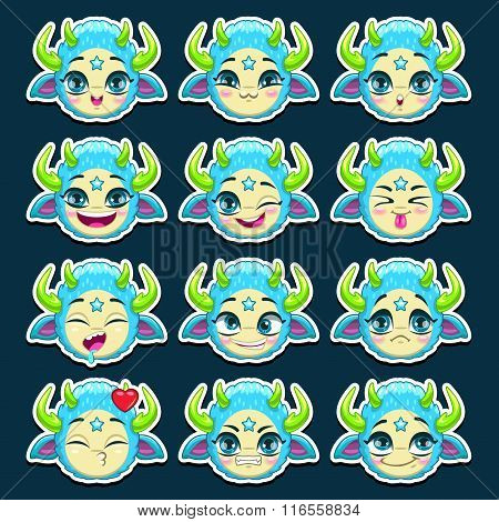 Funny cartoon blue monster emotions set