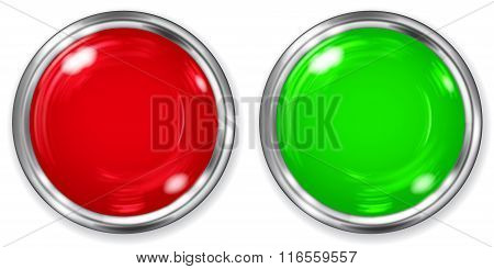 Big Red And Green Opaque Buttons