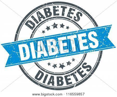 Diabetes Blue Round Grunge Vintage Ribbon Stamp