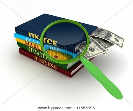 Stack Of Books With Magnifier Over White