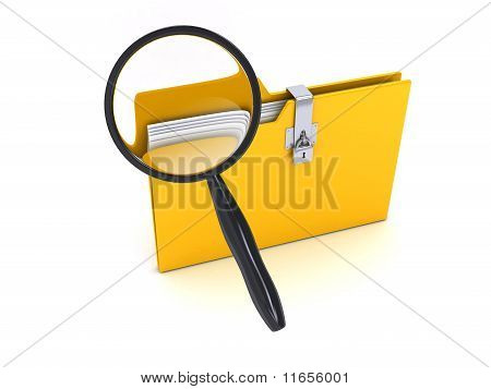Yellow Folder With Magnifier Over White Background