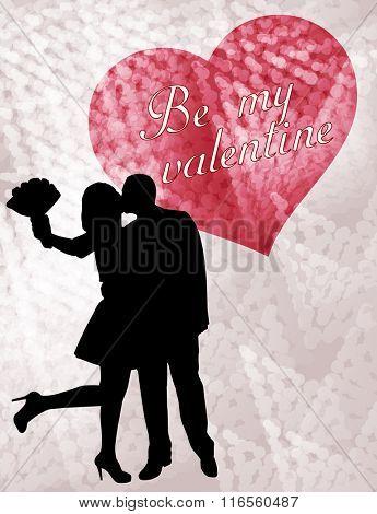 couple in love silhouette,  valentine card - vector
