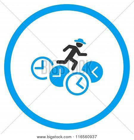 Fellow Running Over Clocks Circled Icon