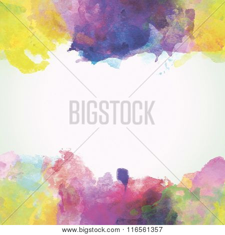 Yellow And Purple Paper Watercolor Backdrop With Colorful Blobs And Place For Text.