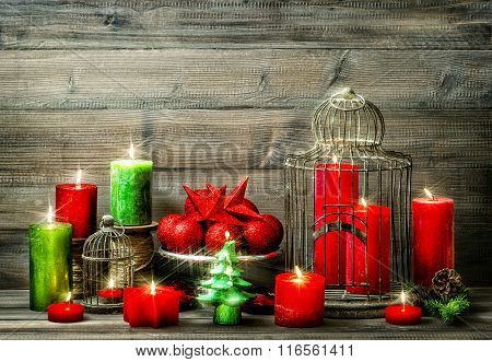 Christmas Decoration With Burning Candles. Vintage Style
