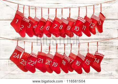 Advent Calendar 1-24. Christmas Decoration Red Stocking