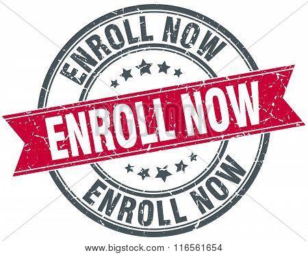 enroll now red round grunge vintage ribbon stamp