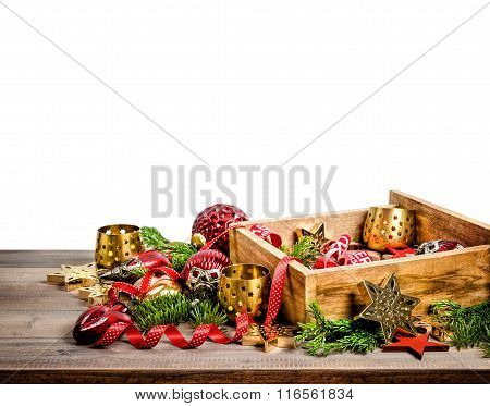 Christmas Decorations, Toys And Ornaments. Holidays Background