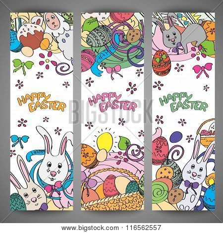 Set of creative multi colour vector banners for Happy Easter