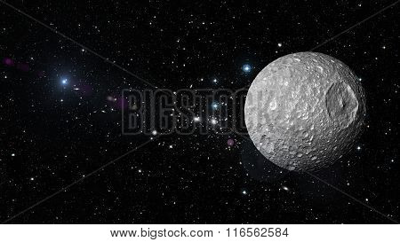 Planet Mimas In Outer Space. Elements Of This Image Furnished By Nasa