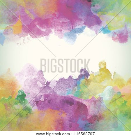 Summer Paper Watercolor Backdrop With Colorful Blobs And Place For Text.