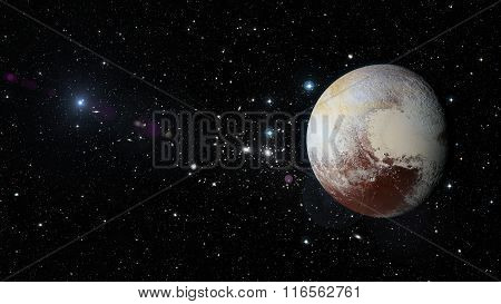 Planet Pluto In Outer Space. Elements Of This Image Furnished By Nasa