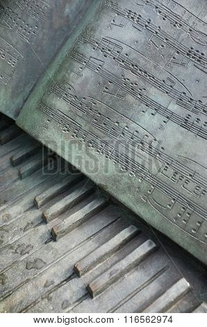 Metal sculpture of piano keys and music score of the music composer Chopin's 'Polonaise'