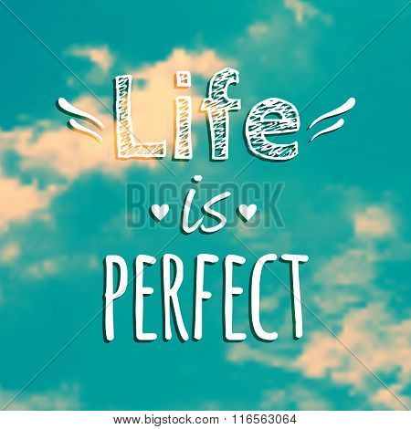 Vector illustration with blue sky and phrase