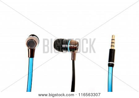 Blue Wired Earphones Isolated Over White