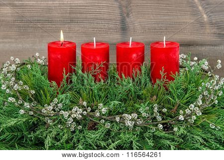 Advent Decoration Wreath With Four Red Burning Candles