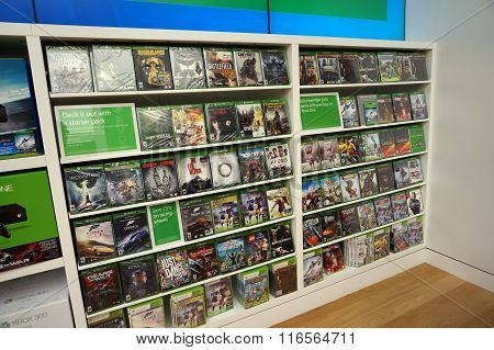 Rows Of Xbox One On Display Inside Microsoft Windows Store During Big Sale