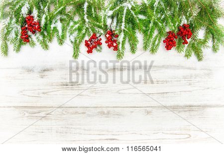 Christmas Tree Sprigs With Red Berries. Winter Holidays Decoration