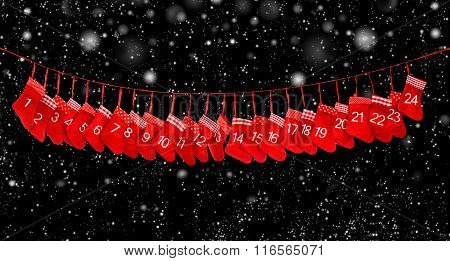 Advent Calendar Banner. Red Christmas Stocking Black Background