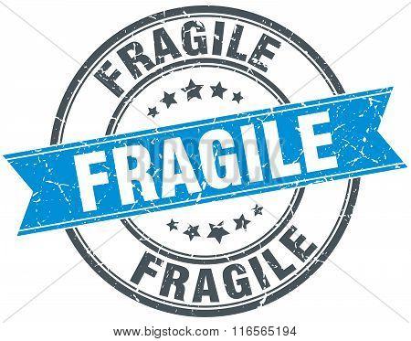 fragile blue round grunge vintage ribbon stamp