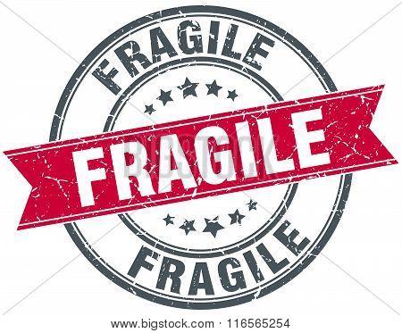 fragile red round grunge vintage ribbon stamp