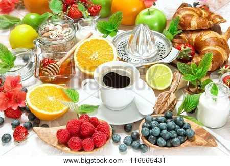 Breakfast With Coffee, Croissants And Fruits. Healthy Food