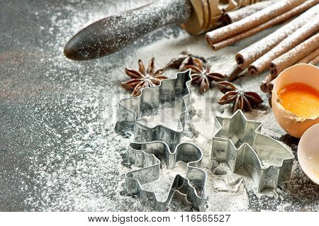 Baking Ingredients And Tools. Christmas Food. Cookie Cutters