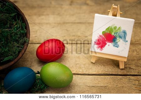 Three Coloured Eggs, Canvas With Blobs