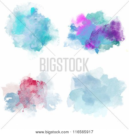 Winter Cold Watercolor Blobs. Set Of Watercolor Splashes For Design.