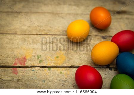Coloured Easter Eggs On Wooden Background