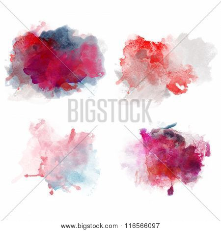Lovely Red Watercolor Blobs. Set Of Watercolor Splashes For Design. Passion Decor.